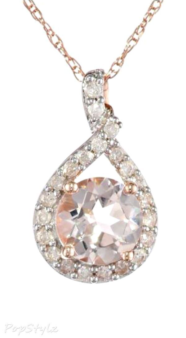 Gold Morganite and Diamond Necklace