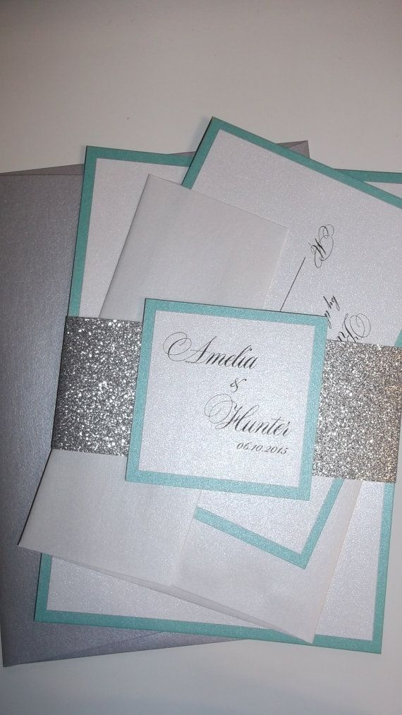 Aqua And Silver Glitter Wedding Invitation Bellyband Invitations With Coloured
