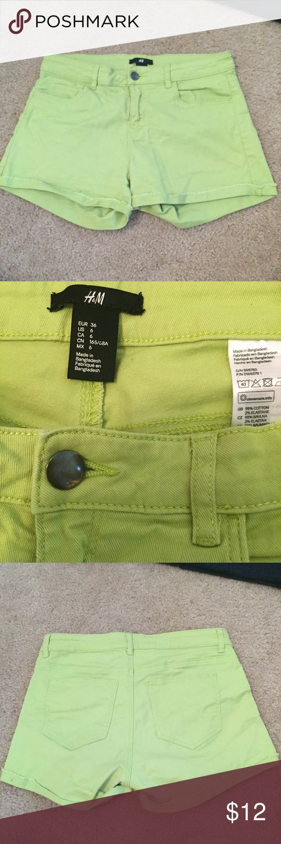 H&M lime green jean shorts 6 EUC lime green shorts from H&M size 6 stretchy H&M Shorts Jean Shorts