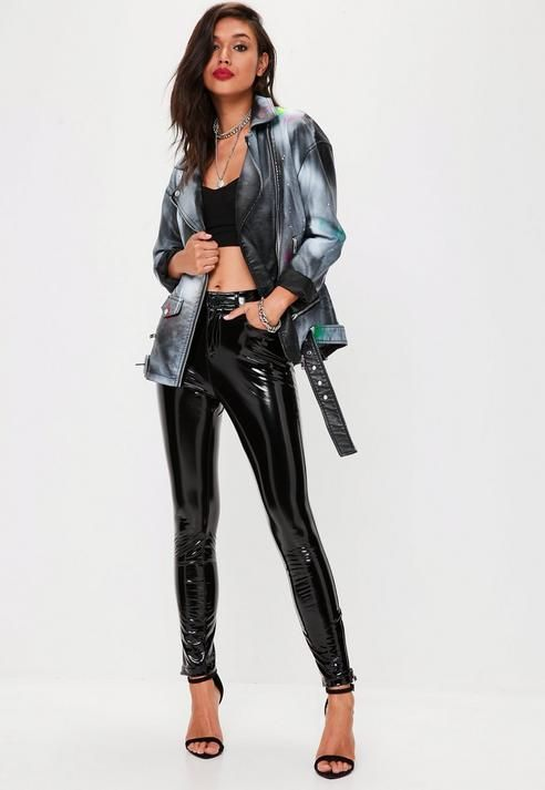 Missguided Black Faux Leather Spray Paint Jacket