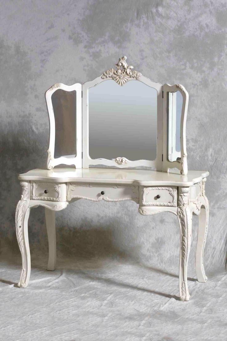 furniture french style antique and vintage makeup vanity table with 3 folding mirror set and 3 drawer painted with white color plus carving wooden legs