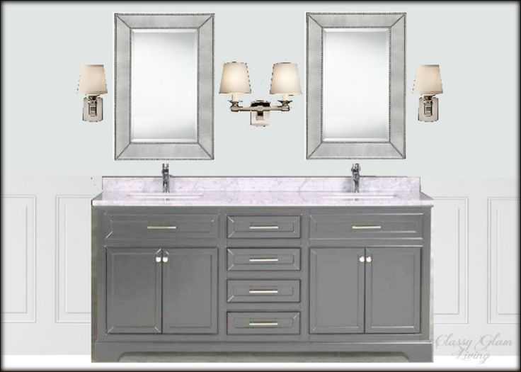 Master ensuite design board |  Sources:Vanity Muti; mirror Home Depot; Sing and Double Scounces Restoration Hardware; wall colour Benjamin Moore Marilyn's dress; crop of wainscoting Lowes