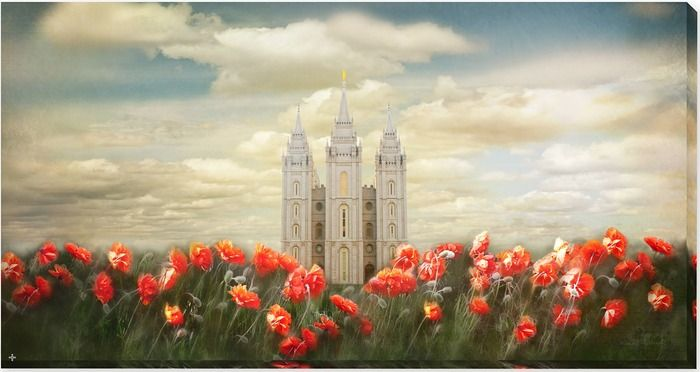 Salt Lake Temple Joyful Day ( 24x46 Framed Art) By Mandy Jane Williams :)