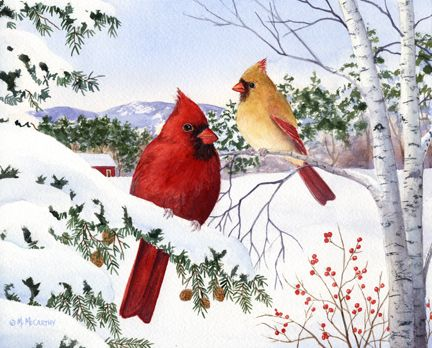 Cardinals and Hemlock Tree by Maureen McCarthy ~ winter ~ Christmas