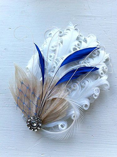 Oh Lucy Handmade MAUREEN Peacock Feather Fascinator Cocktail Fascinator with Pearl and Rhinestone in Ivory Royal Blue and White >>> See this great product.