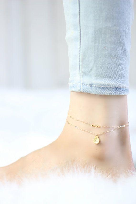 Gold Anklet - Ankle Bracelet - Delicate Jewelry - Beach Anklets - Delicate Anklet - Boho Anklet - Om Anklet - Anklets For Women - Minimal