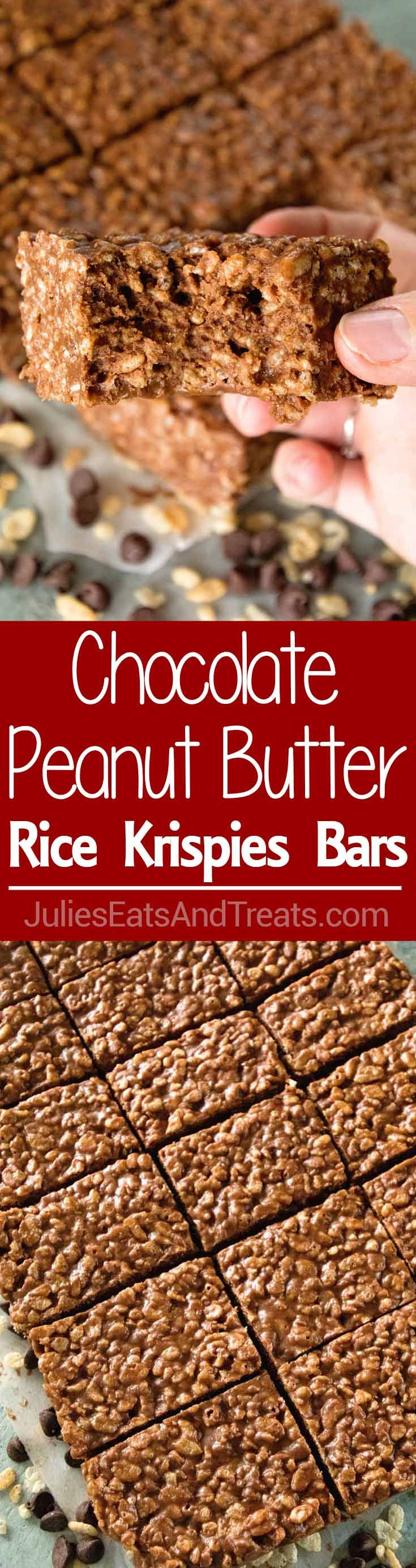 Chocolate Peanut Butter Rice Krispies Bars ~ Delicious Chocolate Peanut Butter Rice Krispie Treats are a Family Favorite! These No Bake Bars are Easy to Make and Always the First Ones Gone!