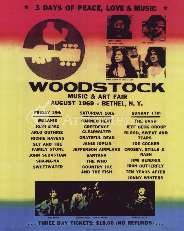 Woodstock 1969 Lineup  I almost went with the couple I babysat for but theirVWbus was overheating! Missed it!!!!