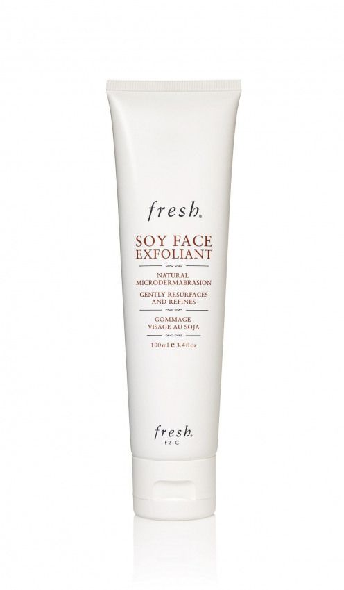 Using cucumber rose hip and jojoba seeds Fresh Soy Face Exfoliant ($42) not  only