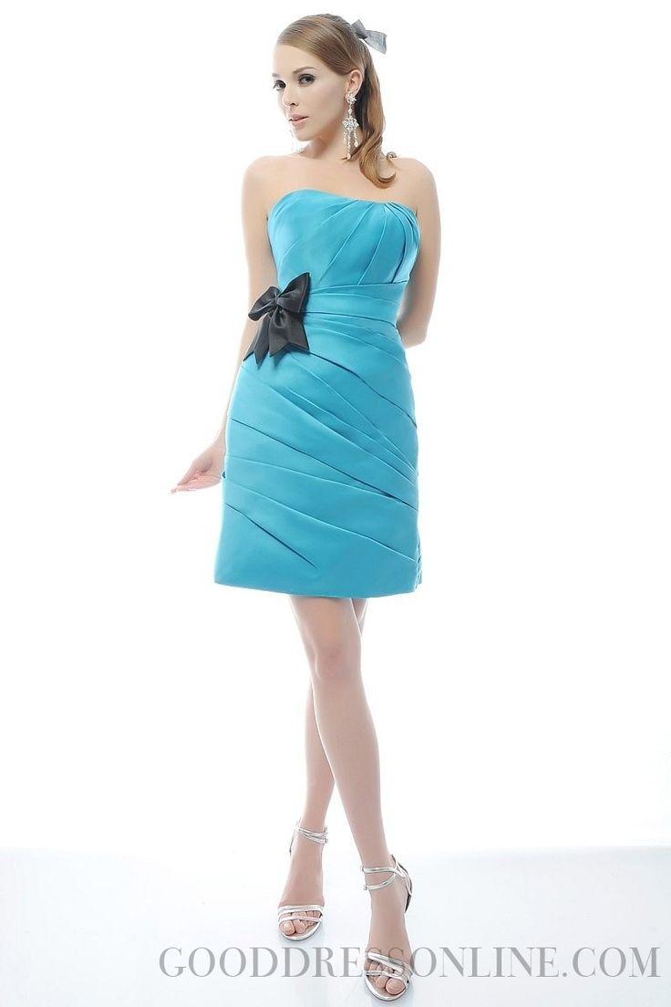 2013 Stunning Bowknot Sheath / Column Strapless Taffeta Bridesmaid Dresses