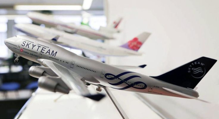 China Airlines (CI),set/lot of 3 model planes from 3 different eras,skyteam,ROC