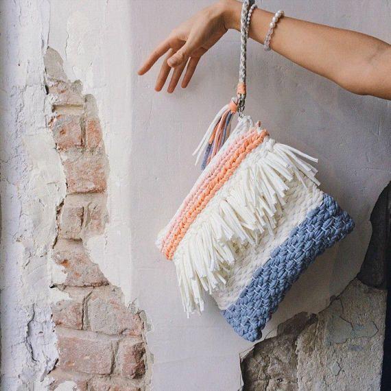 Boho Bag Woven Bag Summer Bag iPad Case Wedding bag White