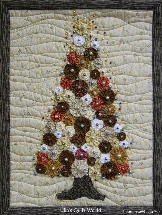 Panel with a herringbone pattern of flowers and napkins Yo-Yo (3) (527x700, 395Kb)