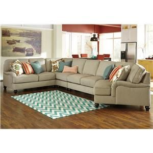 Kerridon 5 piece sectional with english arms right for Sectional sofa with cuddler and chaise