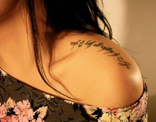 "Beautiful elvish tattoo. ""Not all those who wander are lost."""