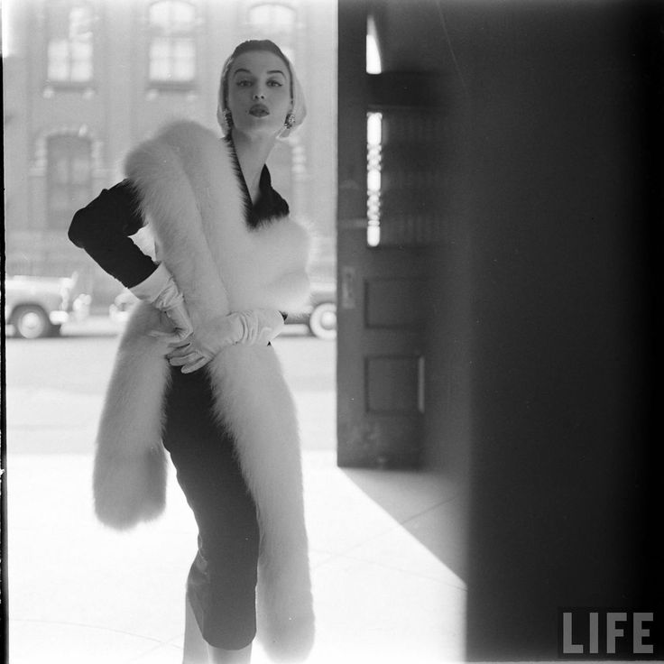 Woman in WHITE FOX Fur - photographed by Gordon Parks, LIFE Magazine, 1952