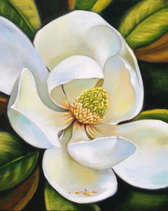 Magnolia painting original Southern art by Robyn by robynjoyart,  $180.00 SOLD!!  robynjoyart.com