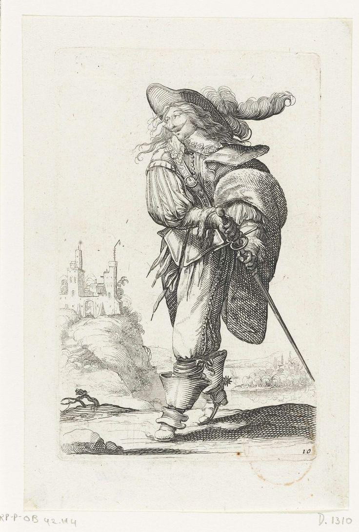 Frans edelman, zijn degen trekkend, gekleed volgens de mode van  ca. 1630, Abraham Bosse, François Langlois, 1629