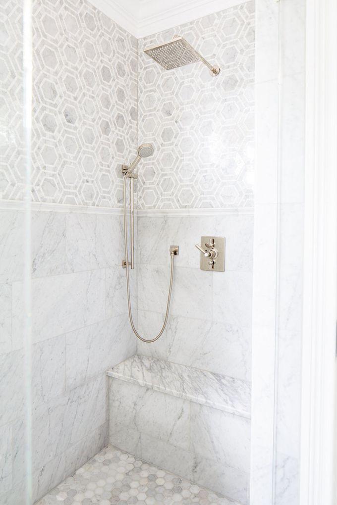 marble shower | Natalie Clayman Interior Design