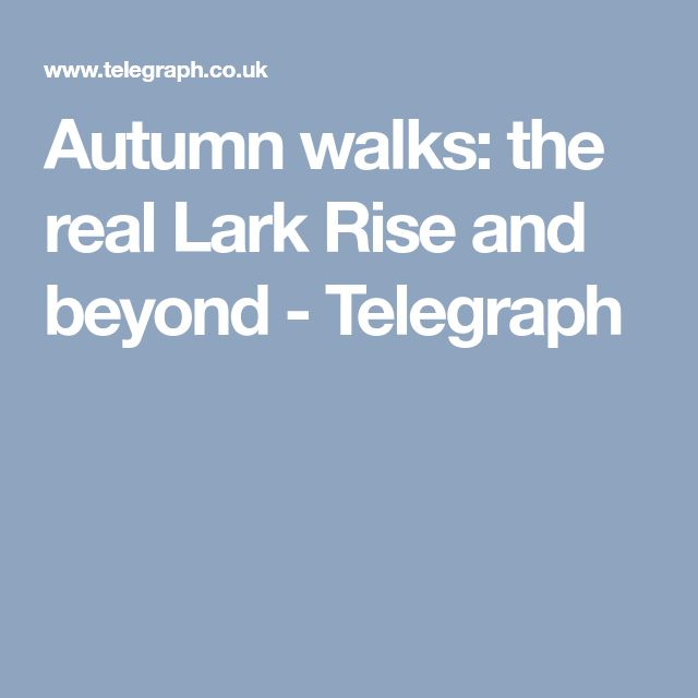 Autumn walks: the real Lark Rise and beyond - Telegraph