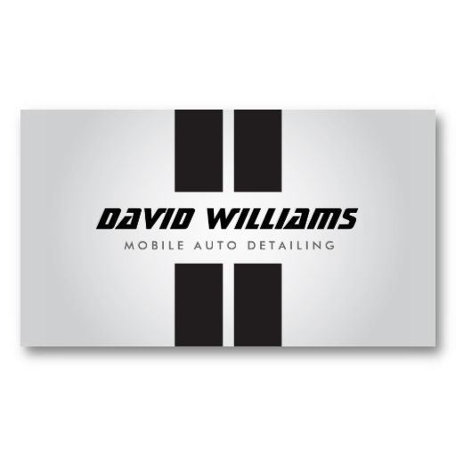 Racing stripes gray black auto detailing repair business for Automotive business card templates