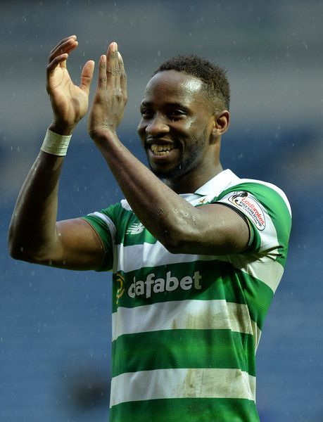 Moussa Dembele of Celtic celebrate at the final Whistle during the Scottish Premiership match between Rangers FC and Celtic FC at Ibrox Stadium on December 31, 2016 in Glasgow, Scotland.