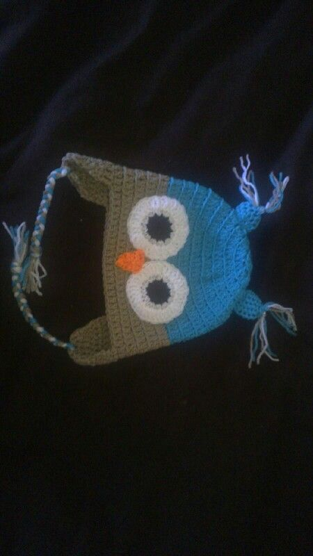 Crocheted owl hat I did for my grandson Saxon's 1st birthday