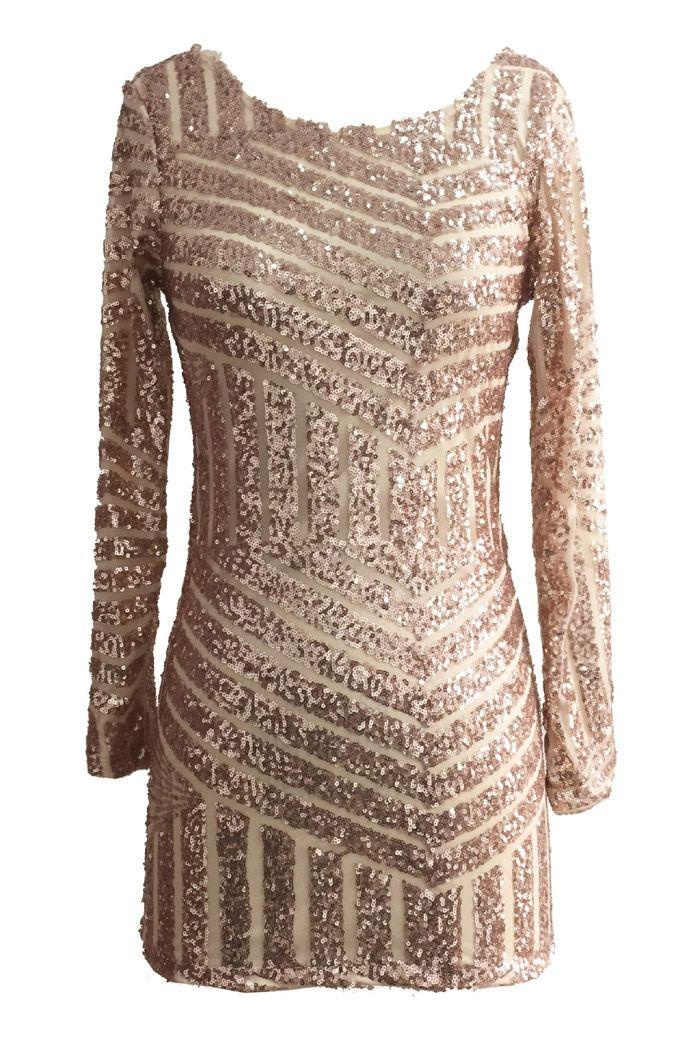 Sequins Backless Long Sleeve Dress – TOP PICK