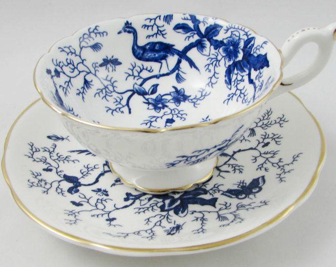 Coalport Blue Tea Cup And Saucer Cairo Pattern Bird Tea Cup Vintage Tea Cup Bone China Tea Cups Tea Cups Vintage China Tea