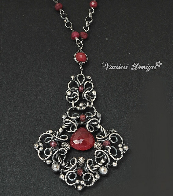 1121 best jewelry oh my gosh love it images on pinterest medieval fine999sterling silverrubies and sapphires necklace by vaninidesign via flickr aloadofball Image collections