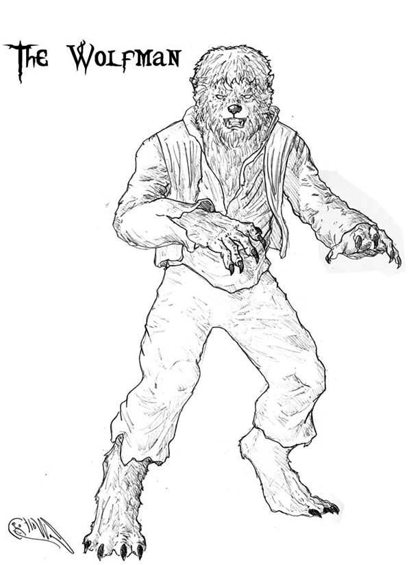 terrifying werewolf coloring page coloring sun - Halloween Werewolf Coloring Pages