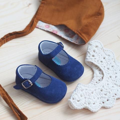 Piulín kongeblå semsket baby mary jane #babyshoes