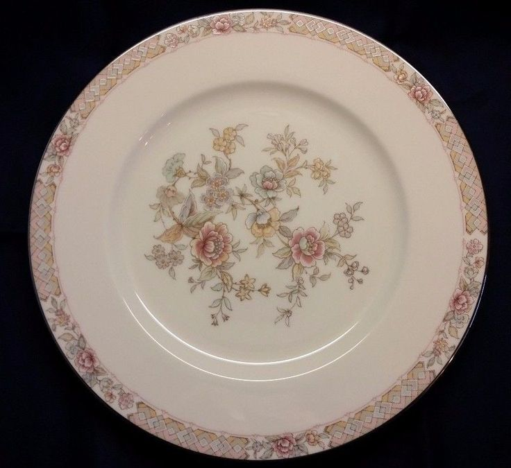 """DINNER PLATE IMPERIAL GARDEN BY NORITAKE 10 1/2"""" - Ivory color pink/green flowers and braided band. Excellent used condition, no chips, cracks or crazing. 