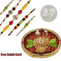 Thali with 5 Designer Rakhis