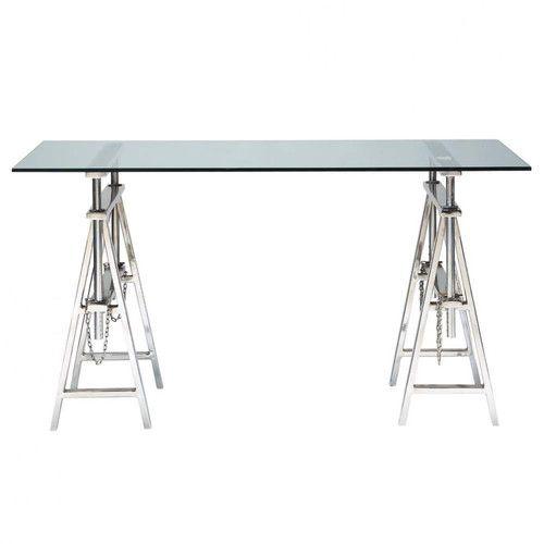 En un estilo contemporáneo, el escritorio HELSINKI une sabiamente vidrio, acero y líneas depuradas - Maisons du Monde