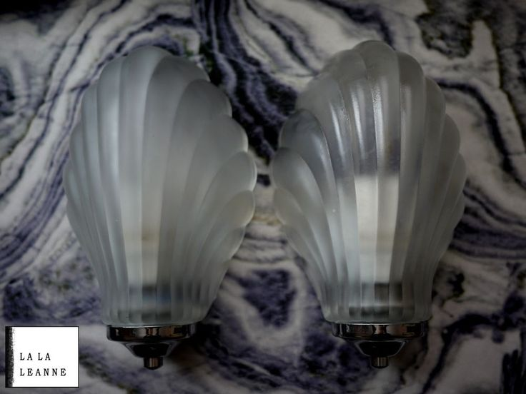 Pair of vintage Art Deco style Wall Lights Glass Shade. Hollywood regency style   | eBay