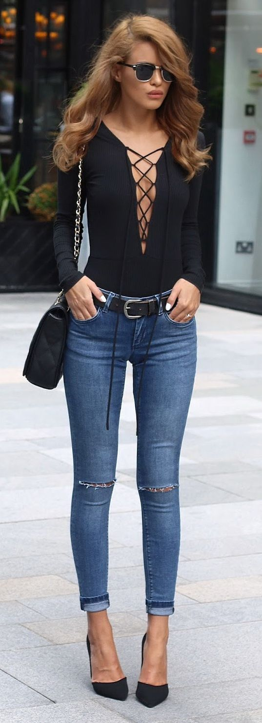 Lace Up Bodysuit / Whitby Ripped Jeans - Asos / Silver Buckle Belt - H&M /   Quilted Bag - Anna Smith /   Court Heels - Zara /  Retro SUnglasses - Asos