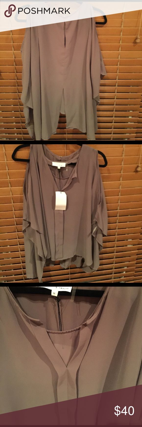 Taupe cold shoulder Blouse with built in tank top Taupe Blouse never worn. Sheer but not see through fabric. Has a tank built. From Apricot Lane S Twelve Tops Blouses