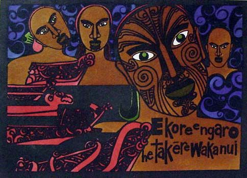 Received a black and white version of this print, purchased at Te Papa's gift shop. The print hangs on our living room wall, and this is the first time I've seen the color version of it. It is by a Maori artist named Robyn Kahukiwa.
