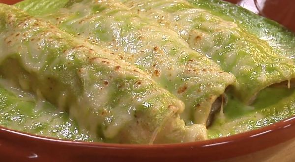 'Green' Spinach Enchiladas These vegetarian cheese and spinach filled enchiladas made with homemade or store bought green enchilada sauce make a wonderful addition to anyone's 'Mexican Night'