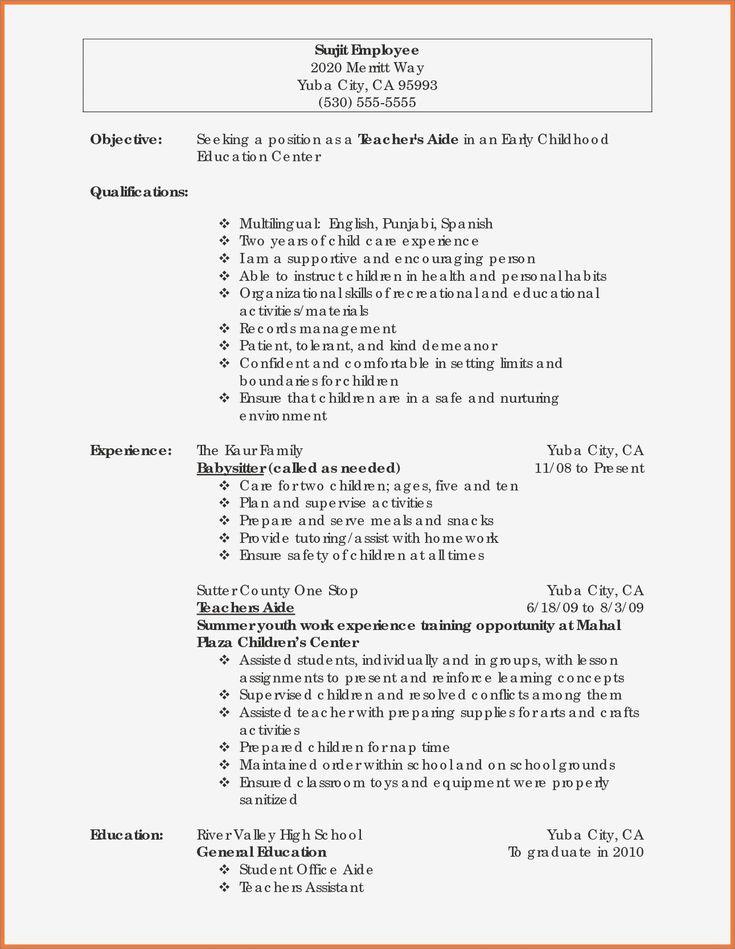 Babysitter job description for resume best of resume