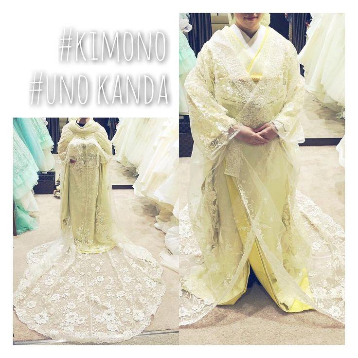 和装試着レポ③  こちらは、さっきと同じイエローの掛下に #神田うの さんブランドの羽織りを。 ロングトレーンみたいになっていて ドレスっぽい雰囲気があります✨ これは白無垢に重ねる方が多いそう!素敵✨  でもこの写真見るとなおさら ドラえもん体型すぎて自分でも笑った 背が低いからかなぁ。。 #2016婚#2016秋婚#プレ花嫁#結婚式#ウェディング#松本#日本中のプレ花嫁さんと繋がりたい#marry#marryxoxo#wedding#ウェディングソムリエアンバサダー #お色直し#和装#着物#新和装