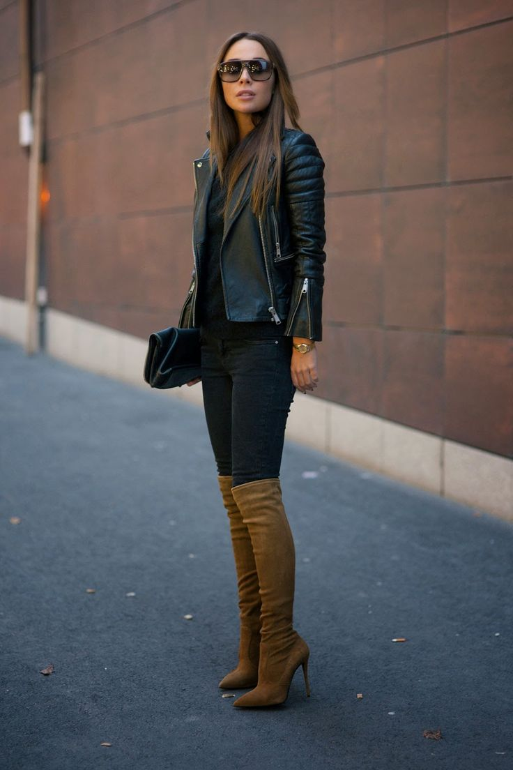 Camel Boots and Leather Jacket