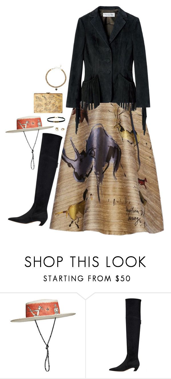 """""""Total look dior with western spirit, hight boots and corolle dress"""" by hugovrcl ❤ liked on Polyvore featuring Christian Dior"""