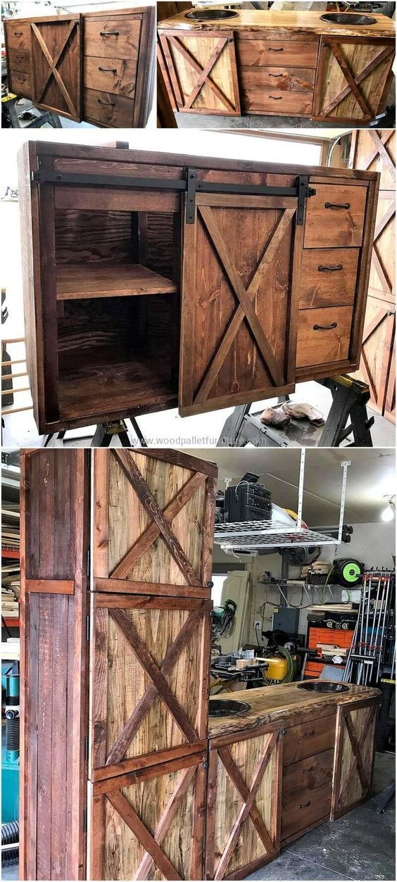 This is another picture description of pallets made kitchen to show you that how you can retransform useless wood pallets into a useful kitchen furniture. It is beautifully created pallets project that have three middle drawers and two large size door cabinets crafted to provide you best kitchen furniture at low-price. #palletfurniturekitchen