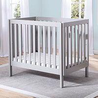 Video review for Delta Children Bennington Elite Mini Crib with Mattress - Grey