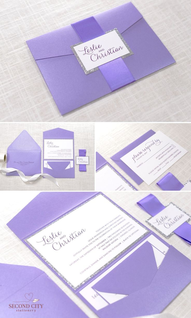 Silver Glitter, Purple Shimmer, and White Pocketfold Wedding Invitation and RSVP Card Suite - Elegant, Glam, Formal - The Wistful Suite