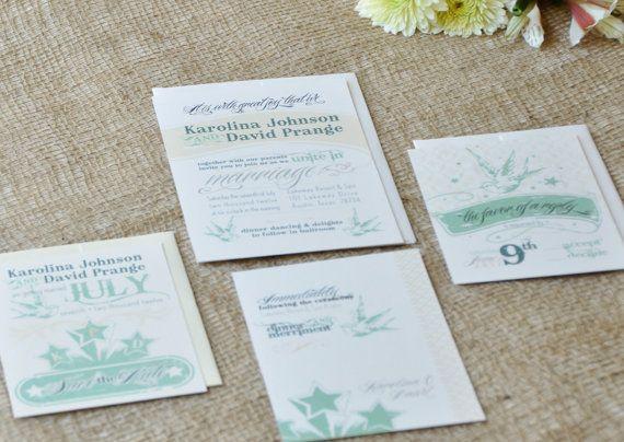 Sparrows Amour Wedding Invitation & RSVP. $3.50, via Etsy.