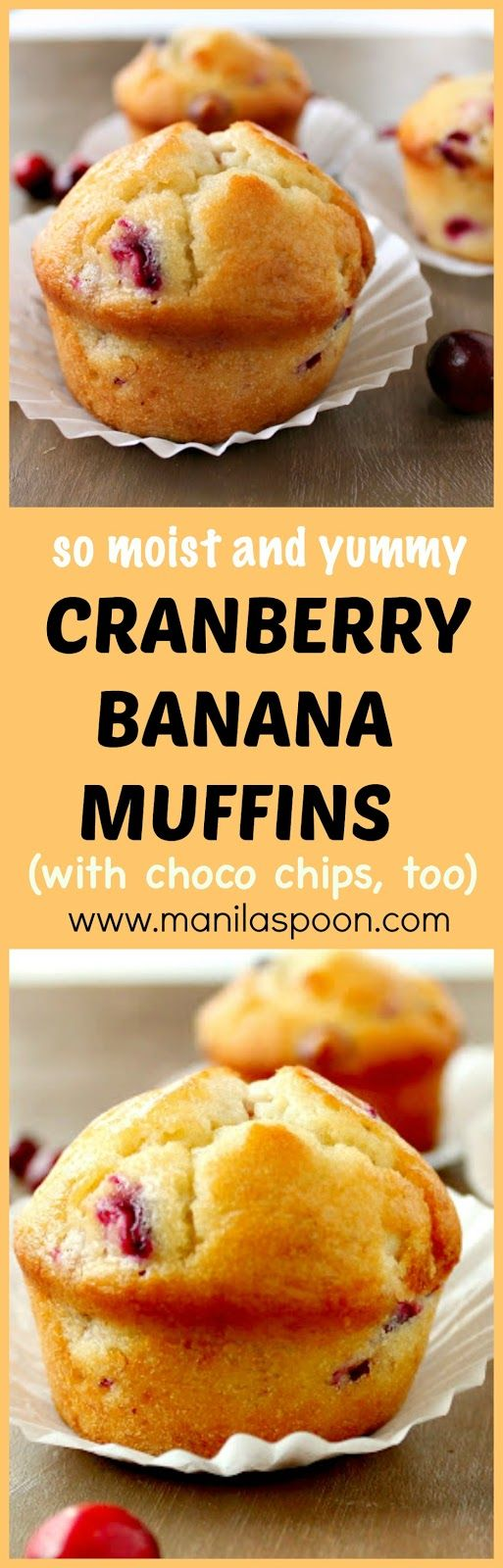 Wherever I bring these muffins I always get compliments. They look pretty with the dots of cranberry, so moist and very delicious - Cranberry Banana Muffins with Chocolate Chips, too! Use fresh, frozen or dried cranberries. | manilaspoon.com