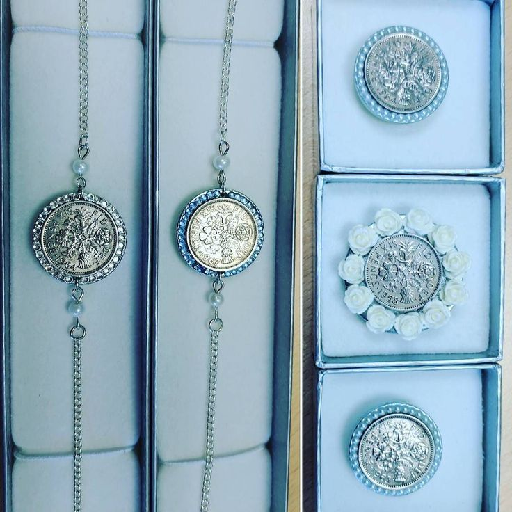 Here are a few more #luckysixpence creations that are now on their way. #shoeclip #anklet #somethingold #somethingblue #sixpenceforyourshoe #weddingaccessories #weddingtraditions